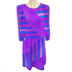 Vintage 70s Purple Dress Ribbed Top Stripes